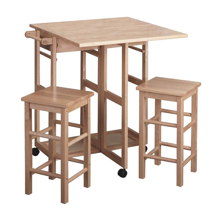 Winsome Wood Drop Leaf Table/Kitchen Cart with 2 Stools in Natural Finish