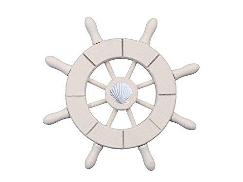 White Decorative Ship Wheel With Seashell  6''