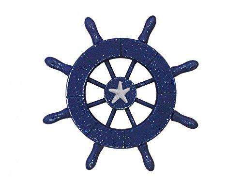 Rustic Dark Blue Decorative Ship Wheel With Starfish 6''