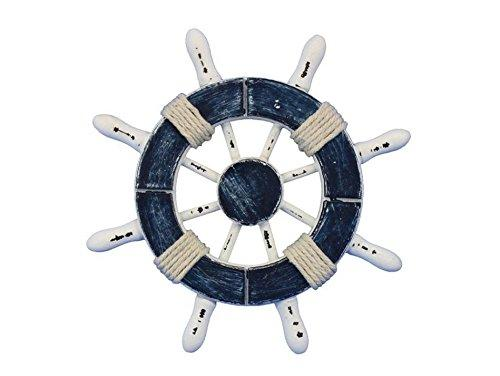 Rustic Dark Blue and White Decorative Ship Wheel 6''