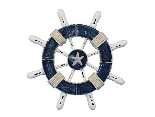 Rustic Dark Blue and White Decorative Ship Wheel With Starfish 6''