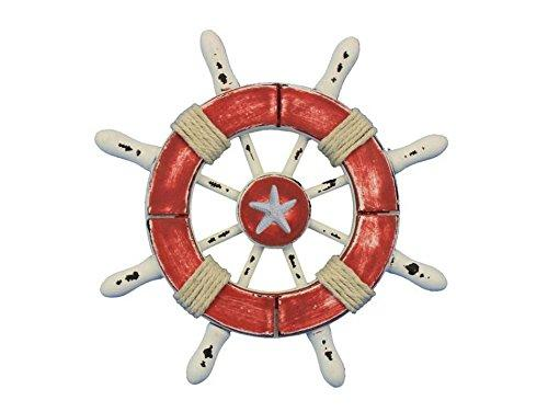 Rustic Red and White Decorative Ship Wheel With Starfish 6''