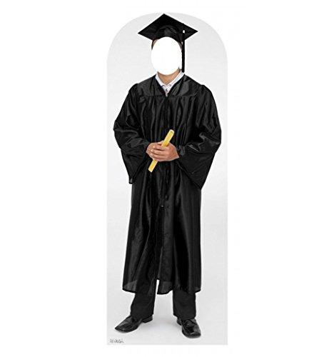 Male Graduate Black Cap & Gown Standin