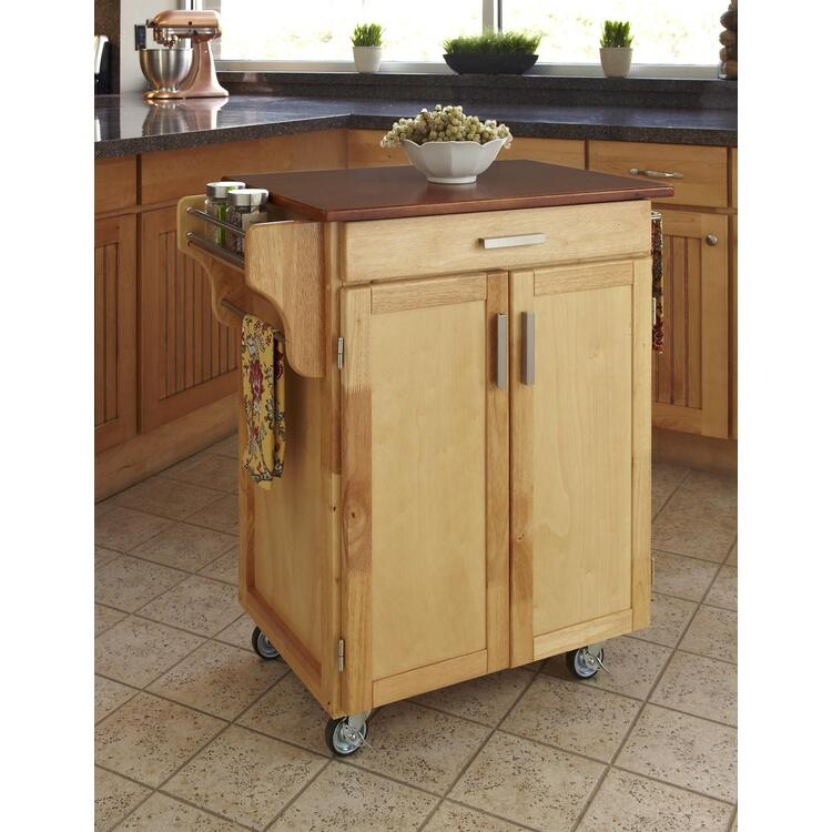 Cuisine Cart Cherry Finish with Oak Top