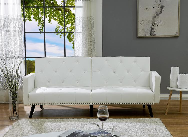 Naomi Home Convertible Tufted Futon Sofa