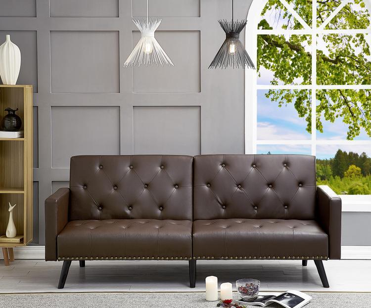 Naomi Home Convertible Tufted Futon Sofa [Item # 90104A]