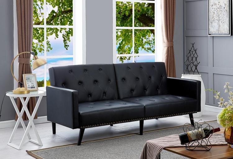 Naomi Home Convertible Tufted Futon Sofa [Item # 90111A]