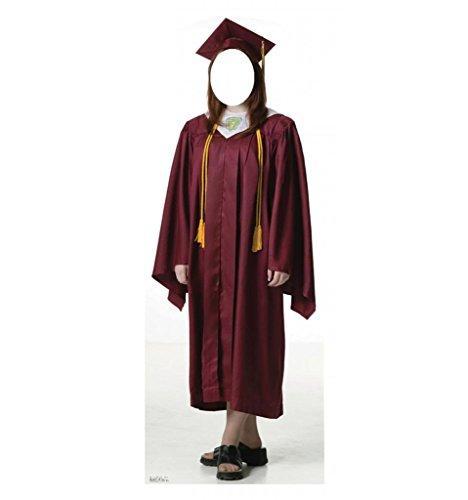 Female Graduate Red Cap & Gown Standin