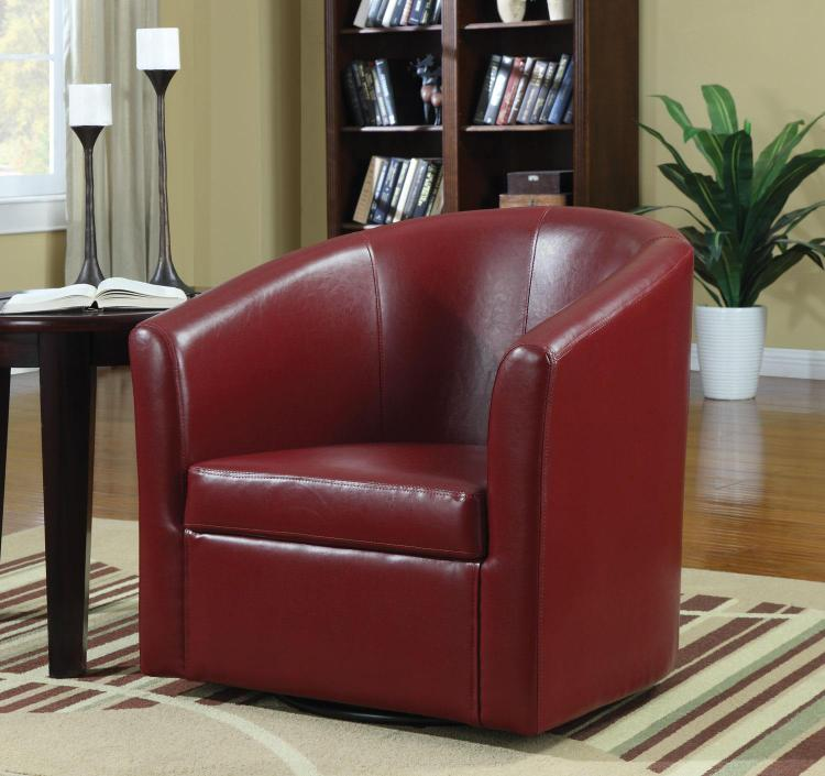 Coaster Home Contemporary Faux Leather Red Accent Chair