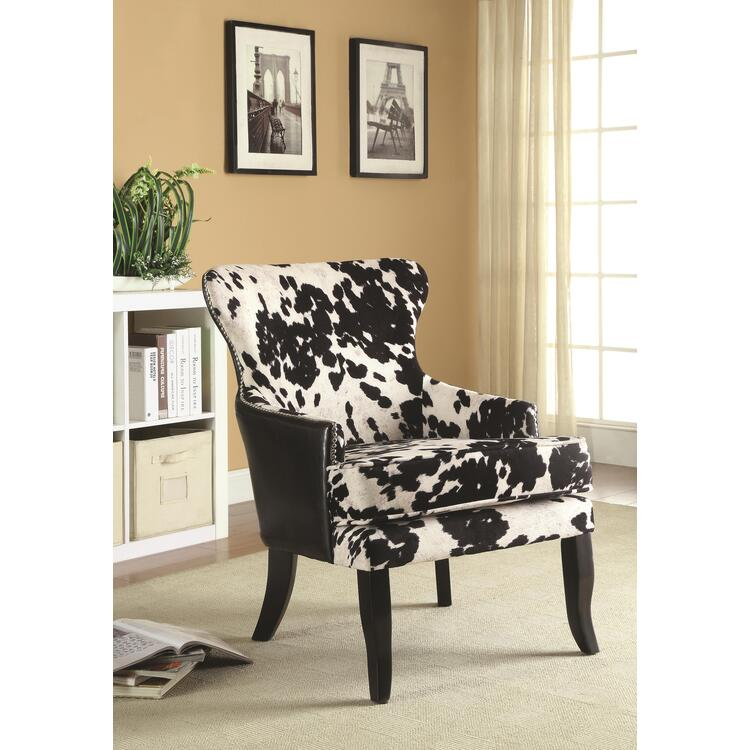 Coaster Traditional Black and White Accent Chair
