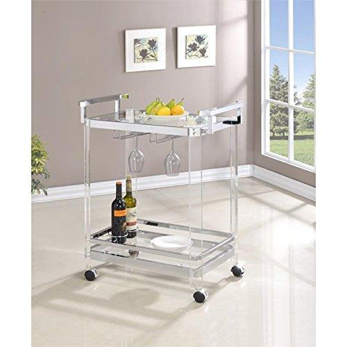 Coaster Traditional Clear Acrylic and Chrome Serving Cart