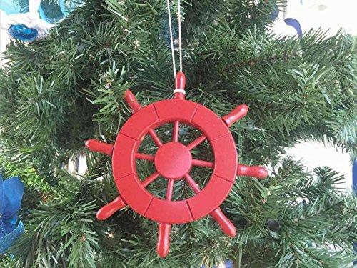 Red Decorative Ship Wheel Christmas Tree Ornament 6''