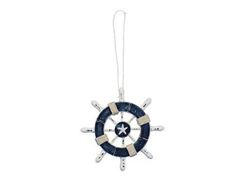 Rustic Dark Blue and White Decorative Ship Wheel With Starfish Christmas Tree O