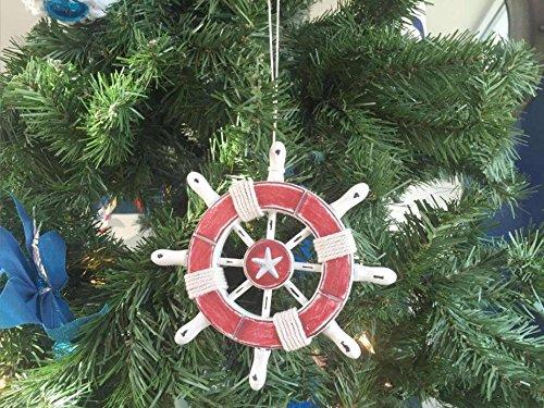 Rustic Red and White Decorative Ship Wheel With Starfish Christmas Tree Ornamen