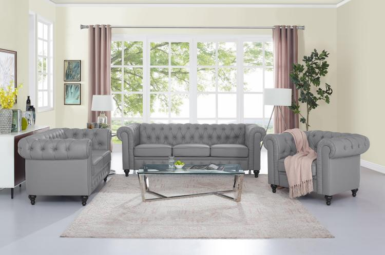 Naomi Home 3 Piece Emery Chesterfield Sofa Set [Item # 90607]
