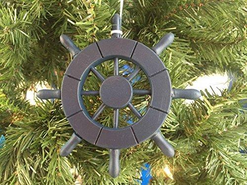 Dark Blue Decorative Ship Wheel Christmas Tree Ornament 6''