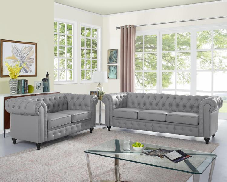 Naomi Home Emery Chesterfield Love Seat & Sofa [Item # 90807A]