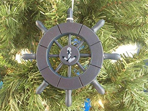 Dark Blue Decorative Ship Wheel With Anchor Christmas Tree Ornament 6''
