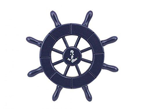 Dark Blue Decorative Ship Wheel With Anchor 6''