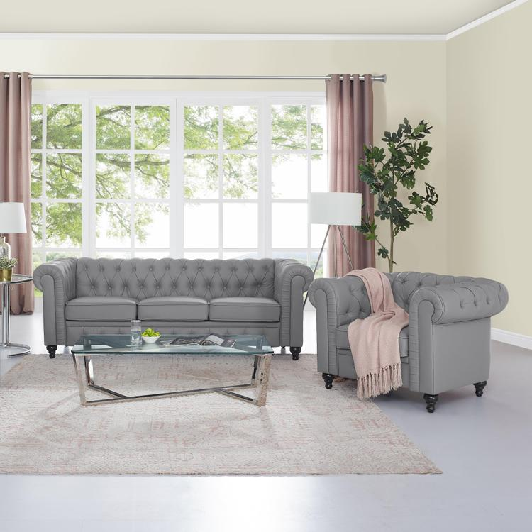 Naomi Home Emery Chesterfield Sofa & Accent Chair with Rolled Arms, Tufted Cushions [Item # 90907A]