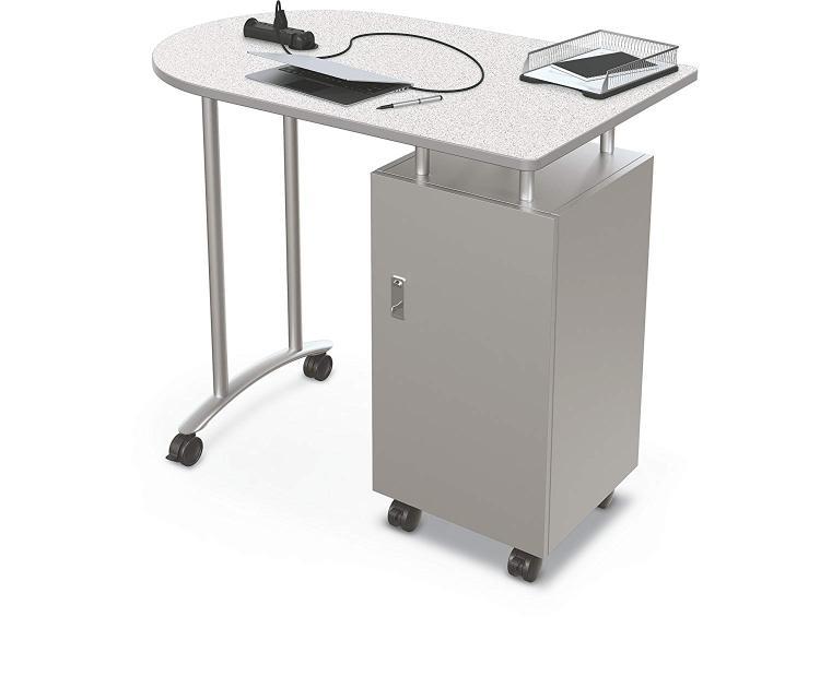 Balt Mobile Teacher Workstation - Silver Base - Grey Nebula Top - Platinum Edge
