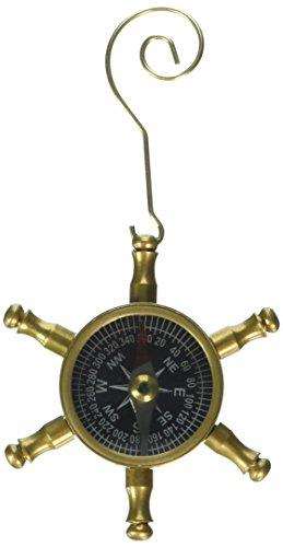 Antique Brass Ship's Wheel Compass Christmas Ornament 5''