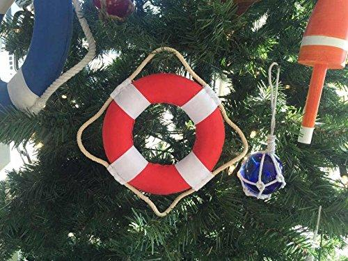 Vibrant Red Decorative Lifering With White Bands Christmas Ornament 6''