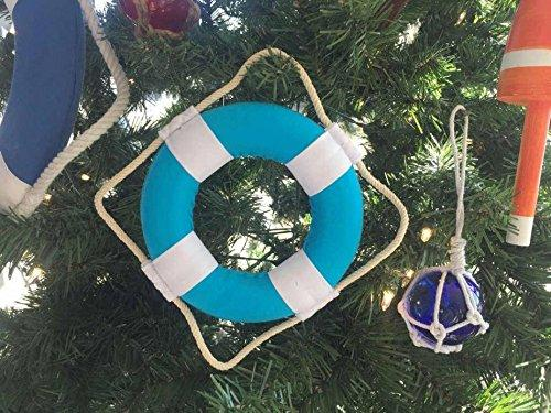 Vibrant Light Blue Decorative Lifering With White Bands Christmas Ornament 6''