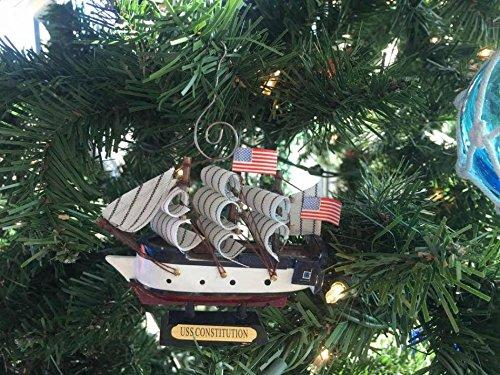 Wooden USS Constitution Tall Model Ship Christmas Ornament 4''