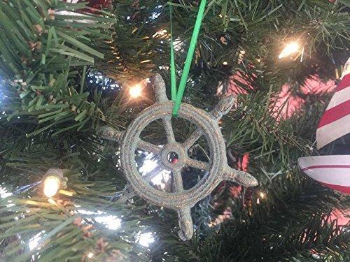 Antique Bronze Cast Iron Ship Wheel Decorative Christmas Ornament 4''