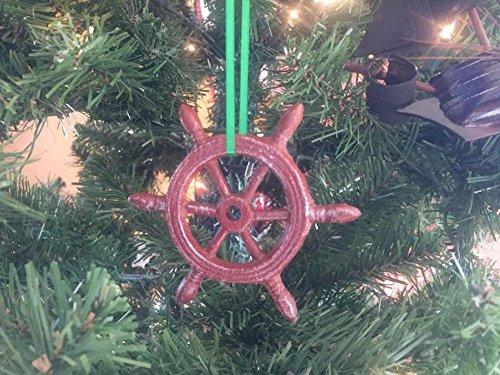 Red Whitewashed Cast Iron Ship Wheel Decorative Christmas Ornament 4''
