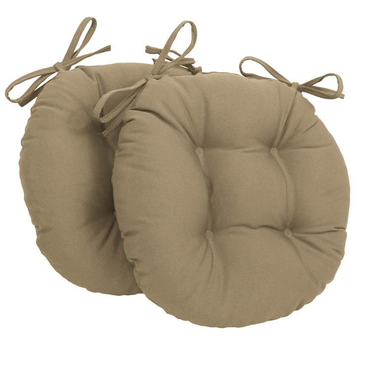 16-inch Solid Twill Round Tufted Chair Cushions (Set of 2)
