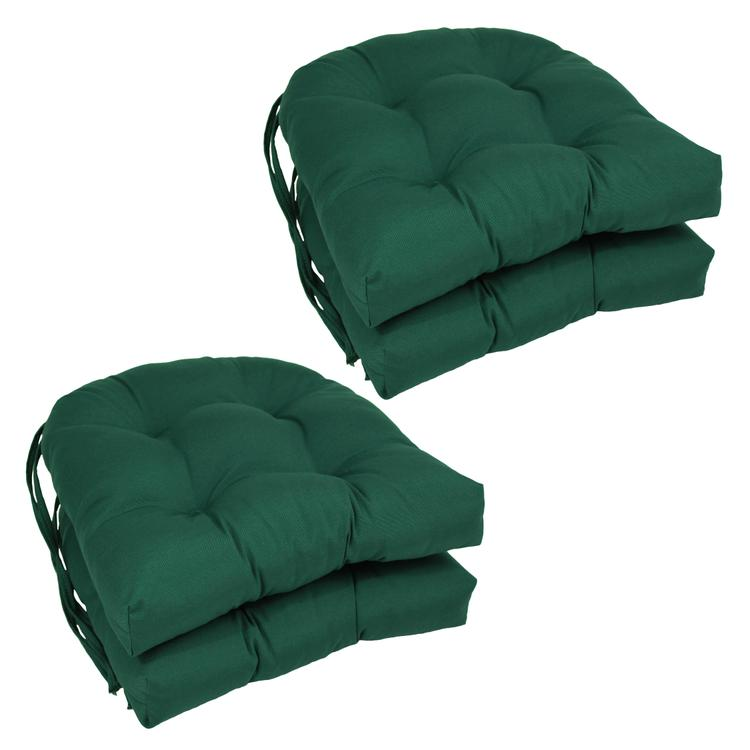 16-inch Solid Twill U-shaped Tufted Chair Cushions (Set of 4)