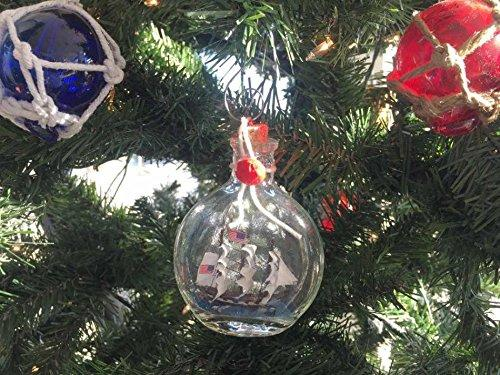 USS Constitution Model Ship in a Glass Bottle Christmas Ornament 4''