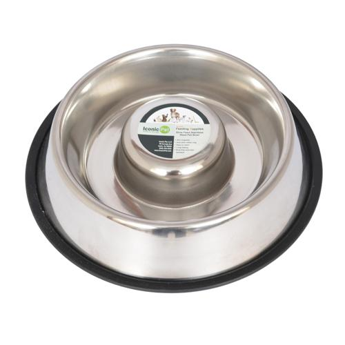 Iconic Pet - Slow Feed Stainless Steel Pet Bowl for Dog or Cat - Large - 48 oz