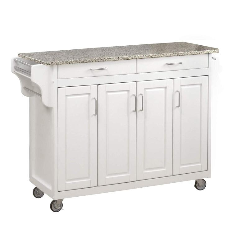 Home Styles Create-a-Cart White Finish with Grey or Black Granite Top