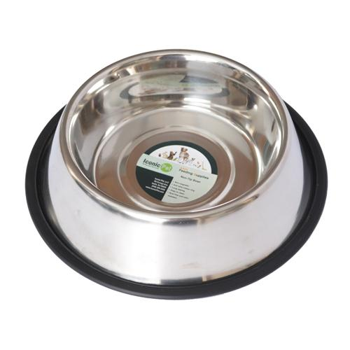 Iconic Pet - Stainless Steel Non-Skid Pet Bowl for Dog or Cat - 32 oz - 4 cup