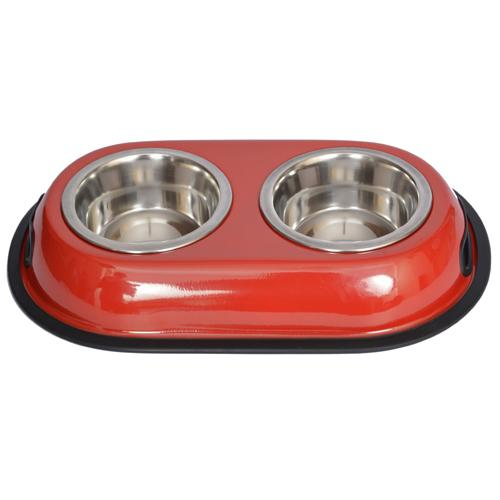 Iconic Pet - Color Splash Stainless Steel Double Diner (Red) for Dog/Cat - 1 Pt - 16 oz - 2 cup