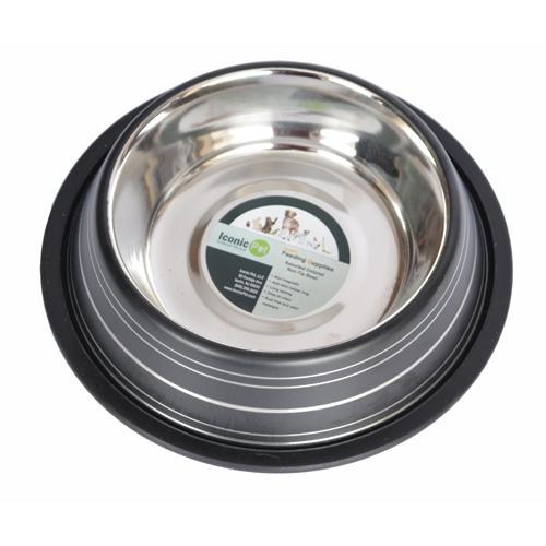 Iconic Pet - Color Splash Stripe Non-Skid Pet Bowl 96 oz - Black