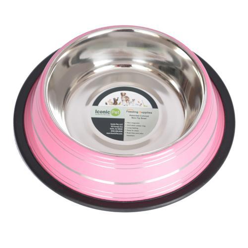 Iconic Pet - Color Splash Stripe Non-Skid Pet Bowl 64 oz - Pink