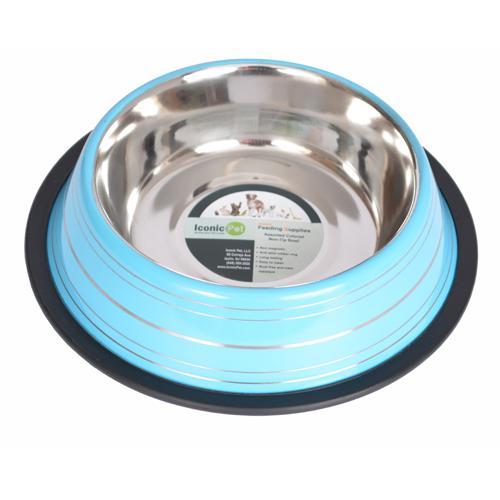 Iconic Pet - Color Splash Stripe Non-Skid Pet Bowl 16 oz - Blue