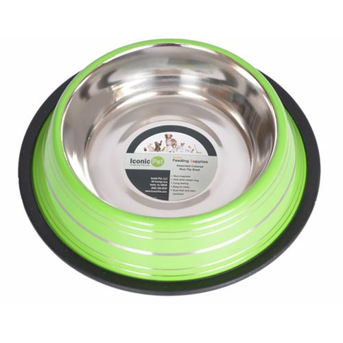 Iconic Pet - Color Splash Stripe Non-Skid Pet Bowl 16 oz - Green