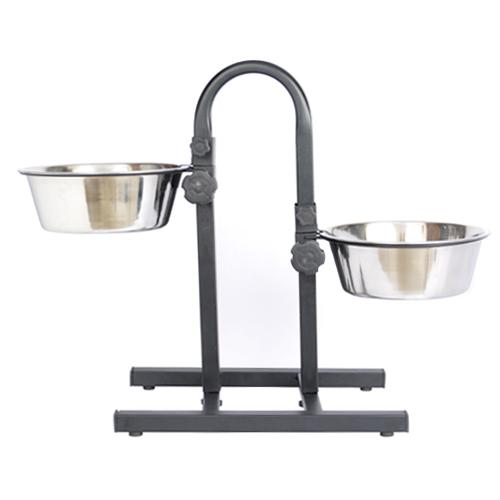 Iconic Pet - Adjustable Stainless Steel Pet Double Diner for Dog (U Design) - 5 Qt - 160 oz - 20 cup