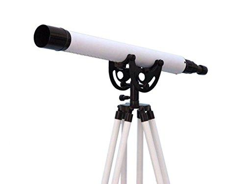Floor Standing Oil-Rubbed Bronze-White Leather Anchormaster Telescope 50''