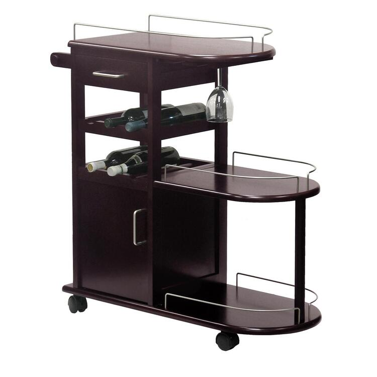 Winsome Wood Entertainment Cart, Glass Rack, Cabinet, Drawer