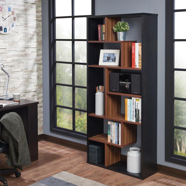 ACME Mileta II Bookshelf, Black & Walnut