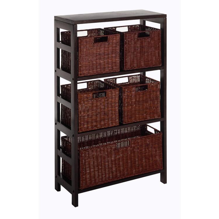 Winsome Wood Leo 6pc Shelf and Baskets; Shelf, 4 Small and 1 Large Baskets; 3 cartons