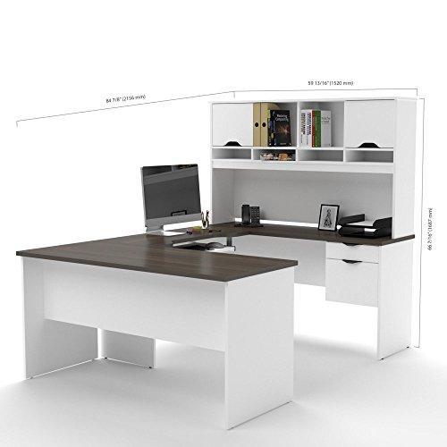 Bestar Innova U-shaped desk with accessories in White and Antigua