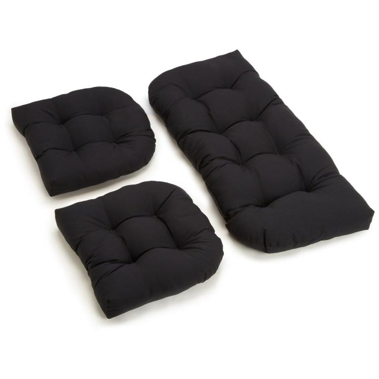 U-Shaped Twill Tufted Settee Cushion Set (Set of 3)