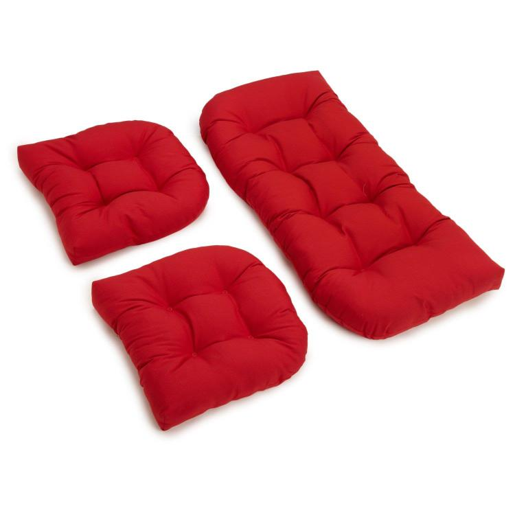 U-Shaped Twill Tufted Settee Cushion Set (Set of 3)